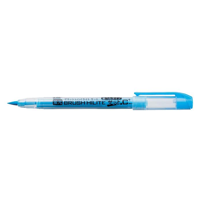 その他 【100個セット】ブラッシュハイライト蛍光筆ペン1本(ライトブルー) 2214359