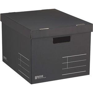 その他 (まとめ)コクヨ 収納ボックス(NEOS)Lサイズ フタ付き ブラック A4-NELB-D 1セット(10個)【×3セット】 ds-2218270