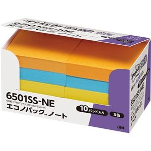 その他 (まとめ) 3M ポストイット エコノパック 強粘着ノート 50×50mm ネオンカラー5色 6501SS-NE 1パック(10冊) 【×10セット】 ds-2233550