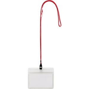 その他 (まとめ) TANOSEE 吊下げ名札防水チャック付 大 赤 1パック(10個) 【×10セット】 ds-2234584