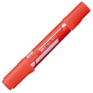 その他 (まとめ) TANOSEE キャップ式油性マーカー ツイン 太字+細字 赤 1セット(10本) 【×30セット】 ds-2235942