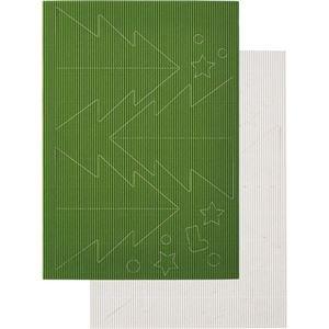 その他 (まとめ) ヒサゴ リップルボード 薄口 型抜きクリスマスツリー 緑・白 RBUT2 1パック 【×30セット】 ds-2241035