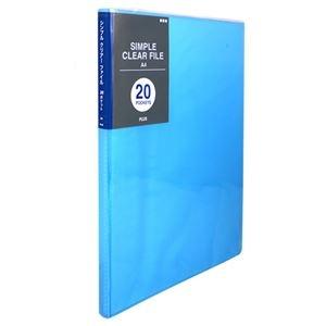 その他 (まとめ) プラス シンプルクリアーファイルA4タテ 20ポケット 背幅10mm ブルー FC-220SC 1冊 【×50セット】 ds-2243267