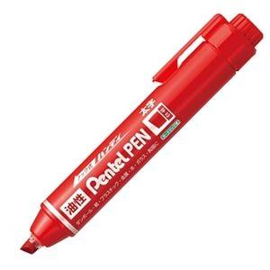 その他 (まとめ) ぺんてる 油性マーカー ノック式ハンディ Pentel PEN 太字平芯 赤 NXN60-B 1本 【×100セット】 ds-2244386