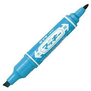 その他 (まとめ) ゼブラ 油性マーカー ハイマッキー角芯太字+丸芯細字 ライトブルー MO-150-MC-LB 1本 【×100セット】 ds-2244503