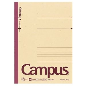 その他 (まとめ) コクヨ 再生紙キャンパスノート(普通横罫) セミB5 A罫 30枚 ノ-E3AN 1冊 【×100セット】 ds-2245319