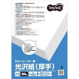 カラーレーザープリンター用 【×10セット】 A3 (100枚) 薄手 TANOSEE (まとめ) 1冊 光沢紙