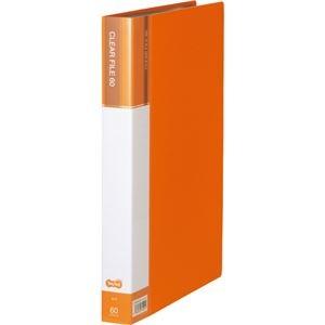 その他 (まとめ) TANOSEEクリヤーファイル(台紙入) A4タテ 60ポケット 背幅34mm オレンジ 1セット(6冊) 【×5セット】 ds-2223197