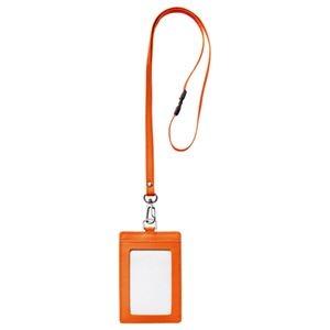 その他 (まとめ) フロント 本革製ネームカードホルダー タテ型 ストラップ付 オレンジ RLNH-S-O 1個 【×10セット】 ds-2223682