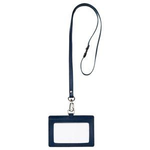 その他 (まとめ) フロント 本革製ネームカードホルダー ヨコ型 ストラップ付 ブルー RLNH-E-B 1個 【×10セット】 ds-2223691