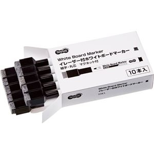 その他 (まとめ) TANOSEEイレーザー付ホワイトボードマーカー 細字・丸芯 黒 1セット(10本) 【×10セット】 ds-2226377