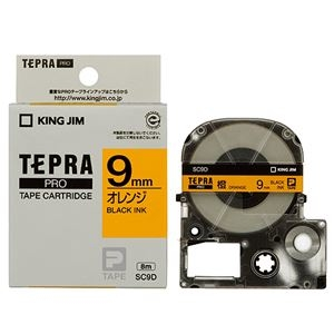 その他 (まとめ) キングジム テプラ PRO テープカートリッジ パステル 9mm オレンジ/黒文字 SC9D 1個 【×10セット】 ds-2228187
