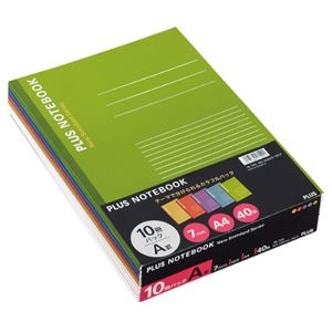その他 (まとめ) プラス ノートブック A4 A罫7mm40枚 イエロー・オレンジ・パープル・ブルー・グリーン NO-204AS-10CP1パック(10冊:各色2冊) 【×10セット】 ds-2231743