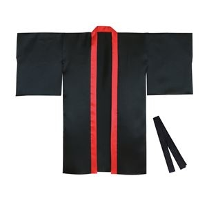 その他 (まとめ)サテンロングハッピ袖付 黒(襟赤) Sサイズ(約90cm) (ハチマキ付) 【×10個セット】 ds-2251645
