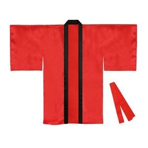 その他 (まとめ)サテンロングハッピ袖付 赤 Lサイズ(約110cm) (ハチマキ付) 【×10個セット】 ds-2251646