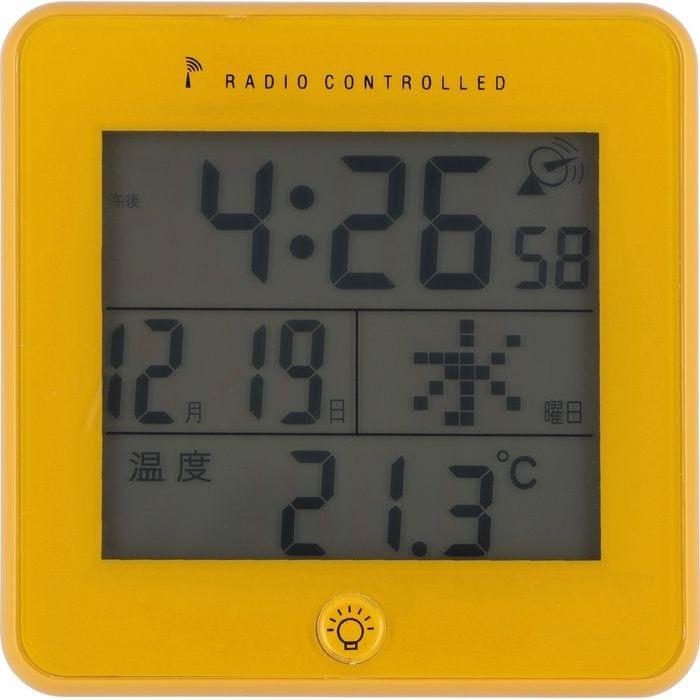 不二貿易 電波置時計ラティ YE JS2606RC-J【6個セット】 FJ-27331