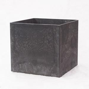 その他 樹脂製 植木鉢 アートストーン キューブ ブラック 32cm 10号 穴有 ds-2258299