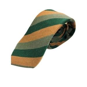 その他 グランネクタイ 西陣手縫い仕立て シルク/ウールネクタイ レジメンタル・トラッド&ブラウン・グリーン ds-2267426
