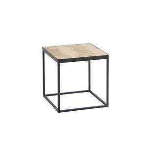 その他 デザインサイドテーブル/置台 【正方形 幅37cm】 木製 スチールフレーム ナチュラル 【完成品】【代引不可】 ds-1984653