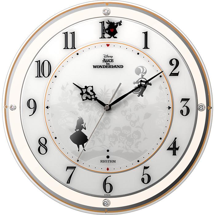 リズム時計 ディズニー ふしぎの国のアリス 電波時計 掛け時計 広範囲受信 サイレントステップ秒針 直径34.1cm 4MY854MC14