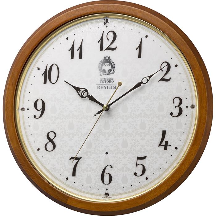リズム時計 トトロ 電波時計 掛け時計 連続秒針 直径33.5cm 木枠 8MY534MN06