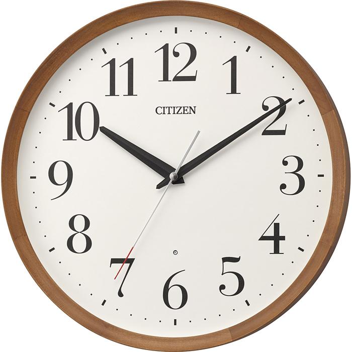 リズム時計 シチズン 電波時計 掛け時計 連続秒針 直径32cm 木枠 8MY535-006