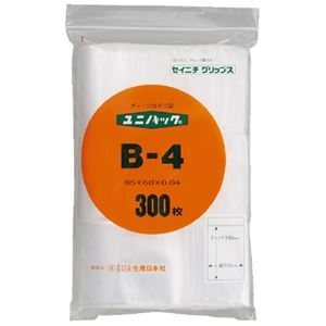 その他 (まとめ)生産日本社 ユニパックチャックポリ袋85*60 300枚 B-4(×10セット) ds-2276629