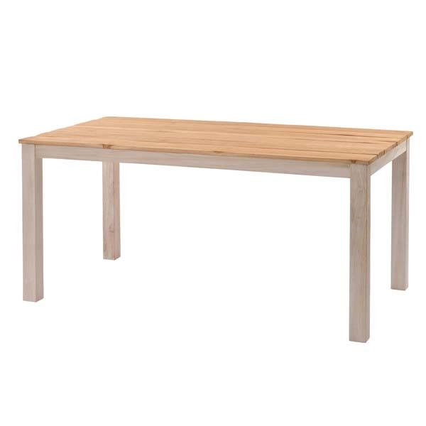 ラタンワールド チーク無垢材 ダイニングテーブル 150cm幅 天板無塗装 (WW(ホワイトウォッシュ)) T850WW