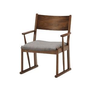 その他 コンパクト 高座椅子/パーソナルチェア 【ウォールナット】 肘付き カバーリング仕様 3段階座奥行き調節機能付き 『エルゼ DH』 ds-2261830