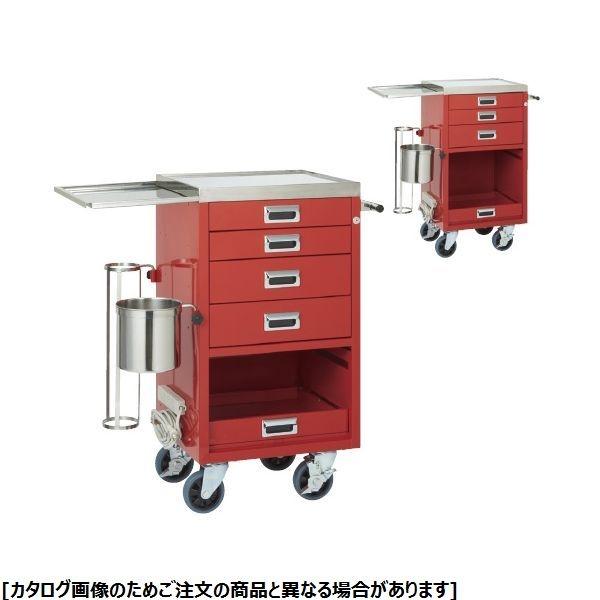 松吉医科器械 コンパクトオープン救急カート YL-EC05R 3段 24-2500-01【納期目安:1週間】