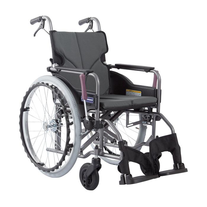 カワムラサイクル 車いす(アルミ製)自走用 KMD-A22-40S-M 背固定 チャコールグレー 24-7619-0001【納期目安:1週間】