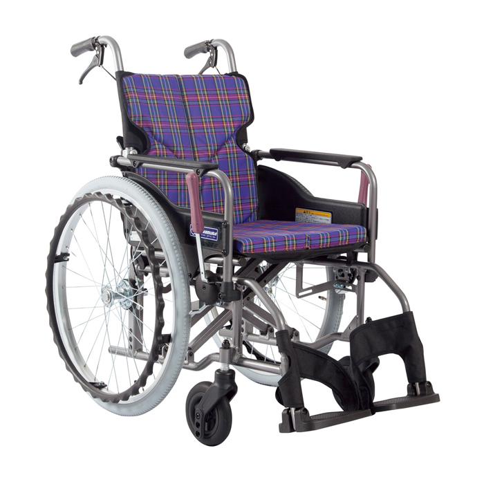 カワムラサイクル 車いす(アルミ製)自走用 KMD-A22-40S-M 背固定 紫チェック 24-7619-0006【納期目安:1週間】