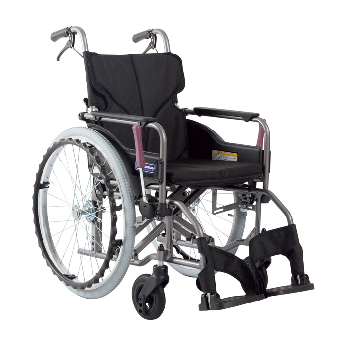カワムラサイクル 車いす(アルミ製)自走用 KMD-A22-40S-M 背固定 黒 24-7619-0007【納期目安:1週間】