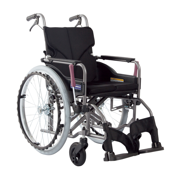 カワムラサイクル 車いす(アルミ製)自走用 KMD-A22-40S-M 背固定 黒メッシュ 24-7619-0008【納期目安:1週間】