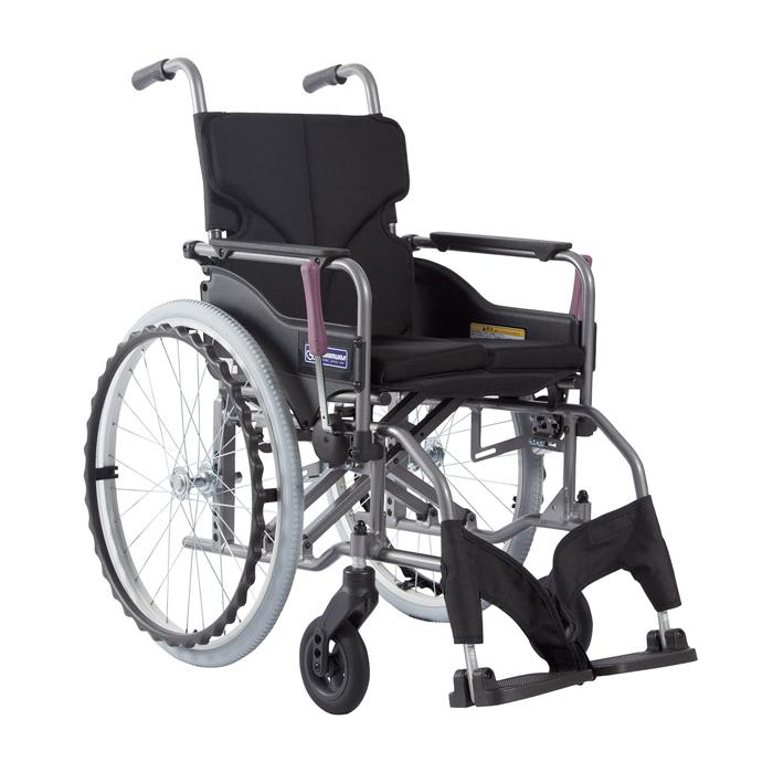 カワムラサイクル 車いす(アルミ製)自走用 KMD-A22-42-H 背折れ 黒メッシュ 24-7619-0708【納期目安:1週間】