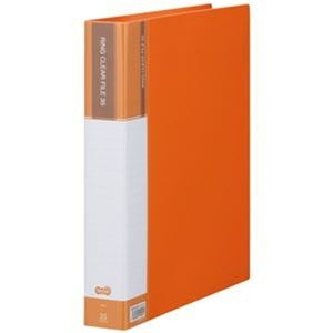 その他 (まとめ)TANOSEE PPクリヤーファイル(差替式)A4タテ 30穴 35ポケット付属 背幅48mm オレンジ 1冊【×10セット】 ds-2309420
