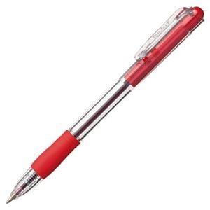 その他 (まとめ)TANOSEE ノック式油性ボールペングリップ付 0.7mm 赤(軸色:クリア)1パック(10本)【×50セット】 ds-2303667