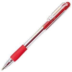 (まとめ)TANOSEE ds-2304561 ノック式なめらかインク油性ボールペン 0.7mm グリップ付 赤(軸色:クリア)1パック(10本)【×20セット】 その他