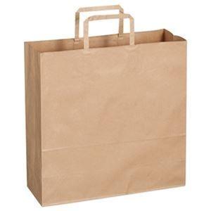 その他 (まとめ)TANOSEE 紙手提袋 平紐 中ヨコ320×タテ320×マチ幅115mm 茶無地 1パック(50枚)【×20セット】 ds-2304720