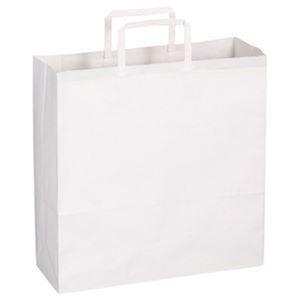 その他 (まとめ)TANOSEE 紙手提袋 平紐 中ヨコ320×タテ320×マチ幅115mm 白無地 1パック(50枚)【×20セット】 ds-2304722