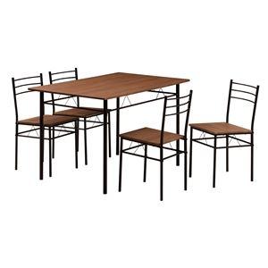 その他 ダイニングテーブル&チェア 5点セット 【ブラウン】 テーブル幅:1200mm スチールフレーム 〔リビング〕 組立品【代引不可】 ds-2319759