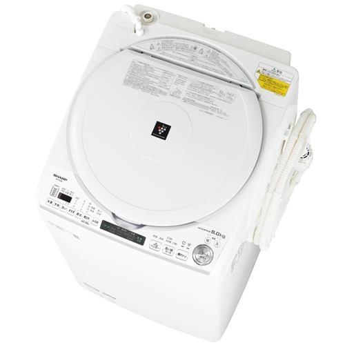 シャープ 縦型洗濯乾燥機 (洗濯8.0kg/乾燥4.5kg) ステンレス穴なし槽 ホワイト系 ES-TX8E-W【納期目安:3週間】