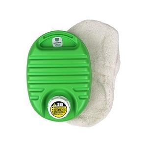 送料無料 mini 湯たんぽ グリーン 容量750cc フリースカバー付き 屋外観戦〕 耐熱温度:本体約110℃ 〔布団 携帯可 出荷 ds-2341146 セットアップ ベッド