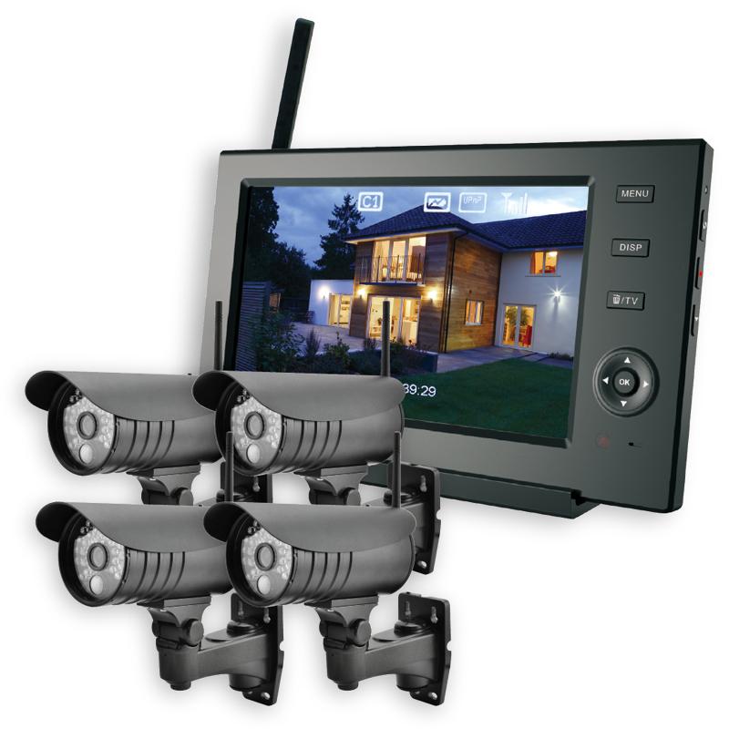 ELPA 防犯カメラ ワイヤレス (無線) セット カメラ4台+モニター1台 スマホ対応 CMS-7110 CMS-C71 / 無線方式で設置が簡単。屋外で使える防水の防犯カメラ(監視カメラ)です