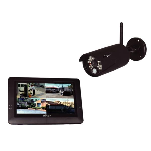 ワイヤレス 防犯カメラ セット キャロットシステムズ AT-8801 カメラ1台+モニター1台/ スマホ対応 / 屋外用防水無線カメラ / 配線・工事不要 / ハイビジョン / 監視セキュリティーカメラセット