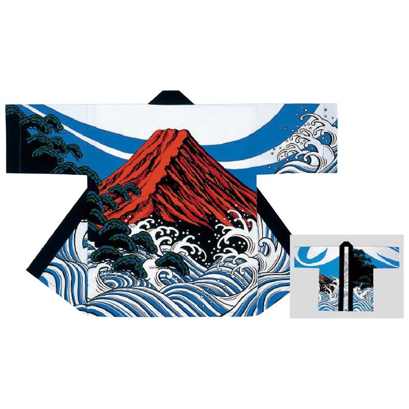 祭り半纏・半天・袢天・法被・半被 反応染め 波に赤富士 =お祭り衣装、大祭、祭禮、神輿、イベント=