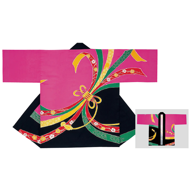 祭り半纏・半天・袢天・法被・半被 反応染め (ピンク・黒) のしめ柄 =お祭り衣装、大祭、祭禮、神輿、イベント=