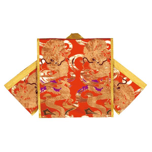 袖無し 法被 半被 半纏 半天 袢天 金襴 (赤) 龍柄 =お祭り 太鼓衣装 大祭 祭禮 イベント=