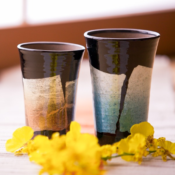 Kutani porcelain a pair of beercups with silver leaf  (choose from 5 colors)