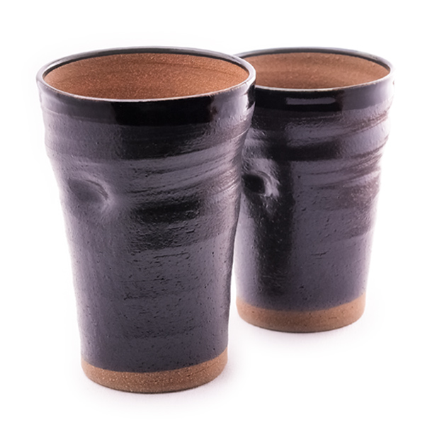 Kutani porcelain pair beer Cup-black ash-glazed pottery finish-wedding HED wedding Memorial Day parents parents men women birthday gifts retirement gift 60th sixtieth birthday celebrate celebration popular gift gifts beer glass ceramic glass cup